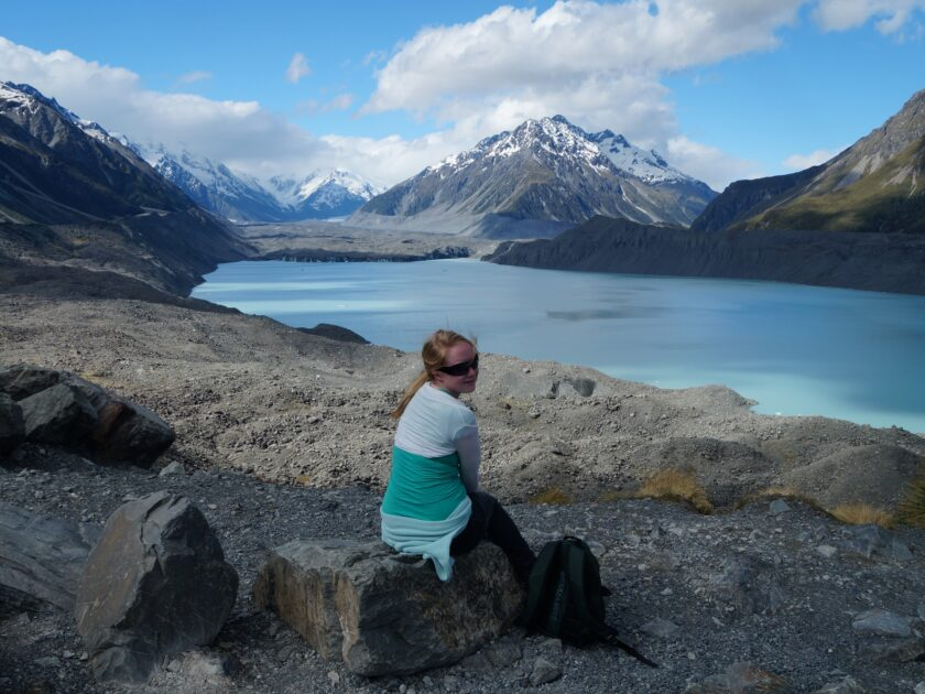 Mrs T by Lake Tasman